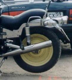 Заднее колесо от машины на мотоцикл урал
